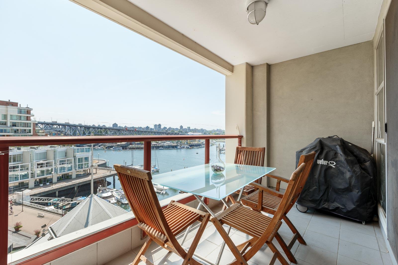 outdoor balcony that overlook the granville marina