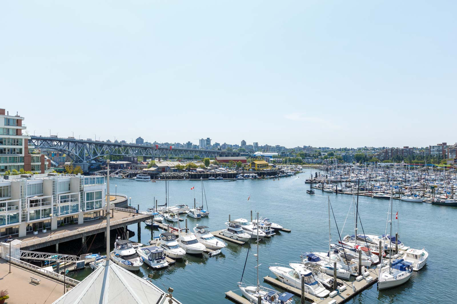 panoramic view of the granville island marina