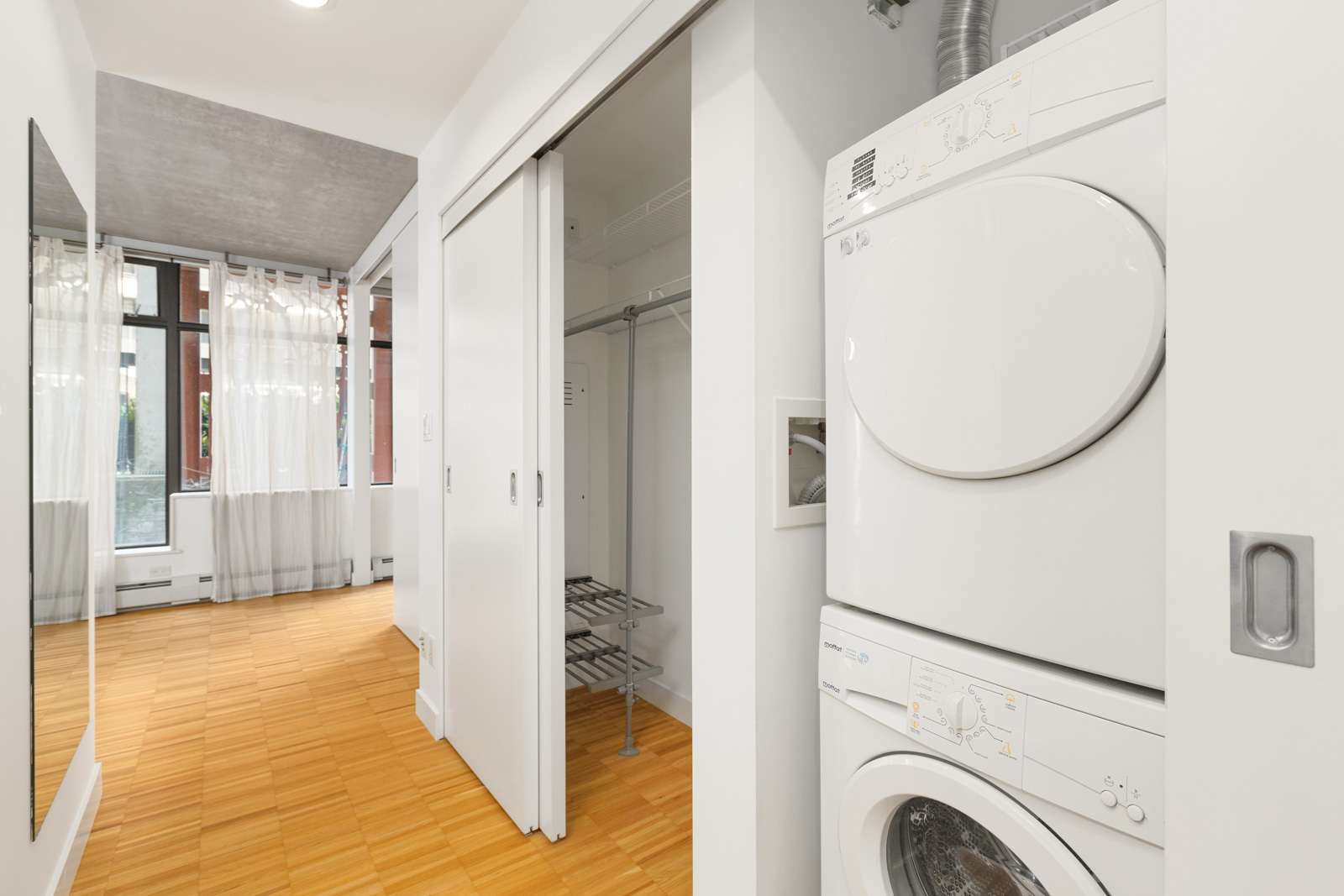 closet space and in-suite laundry