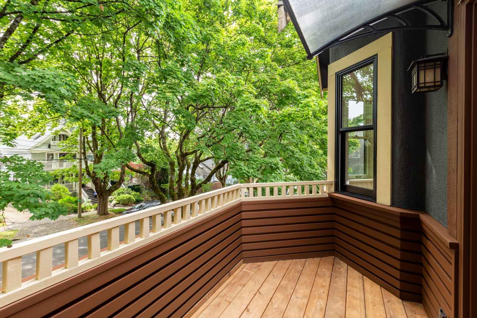 spacious balcony with high end flooring