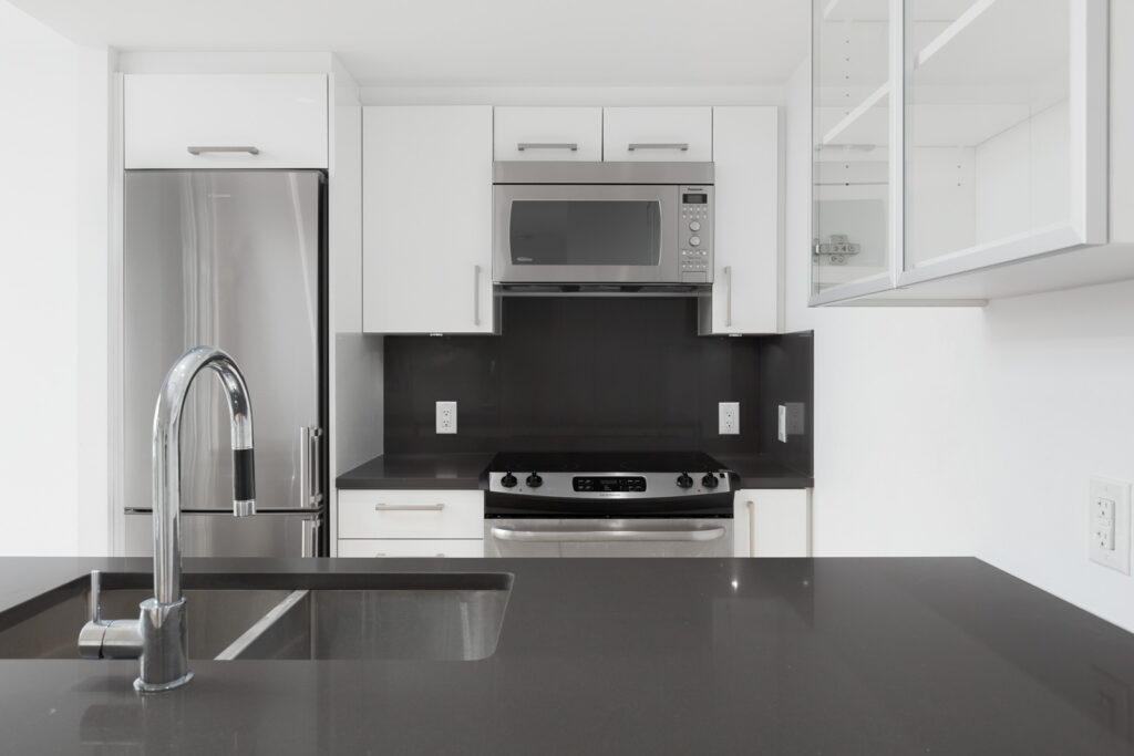 stainless stain appliances in luxury condo in the Balantyne building