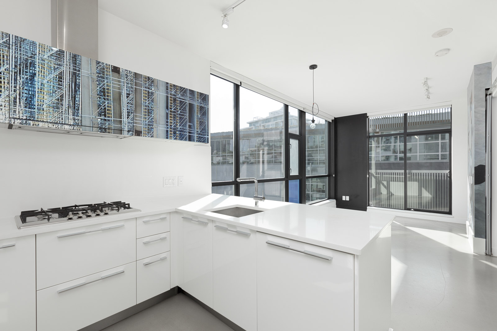 kitchen in upscale in Mount Pleasant condo with a view
