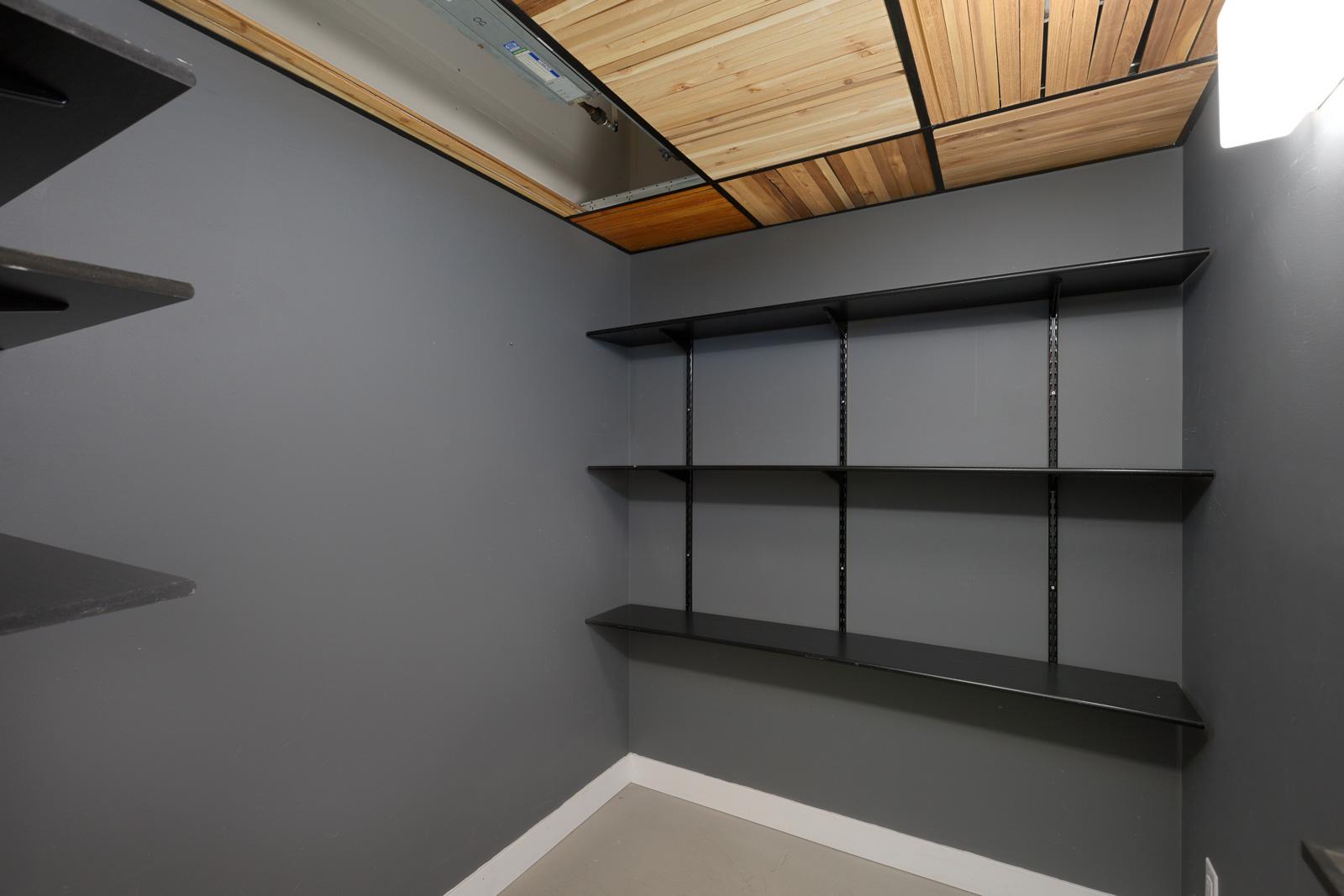 large walk-in closet in Mount Pleasant condo with dark grey walls