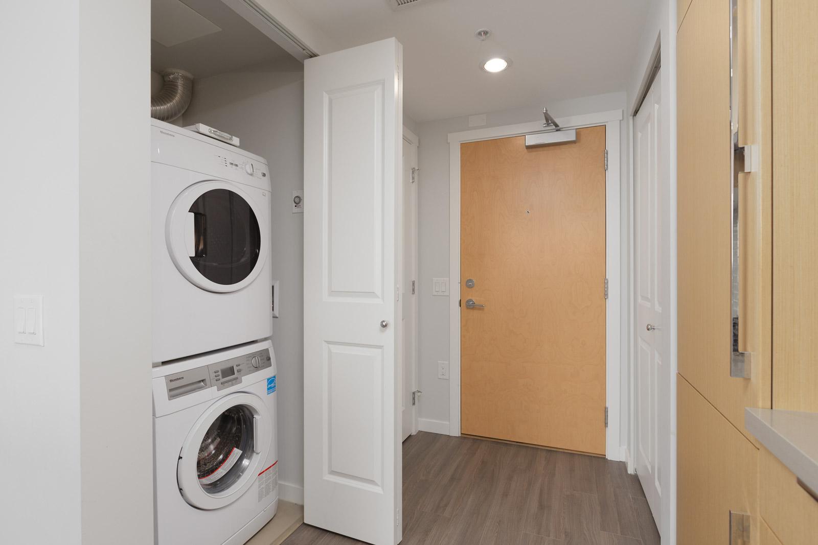 in-suite washer and dryer next to front door