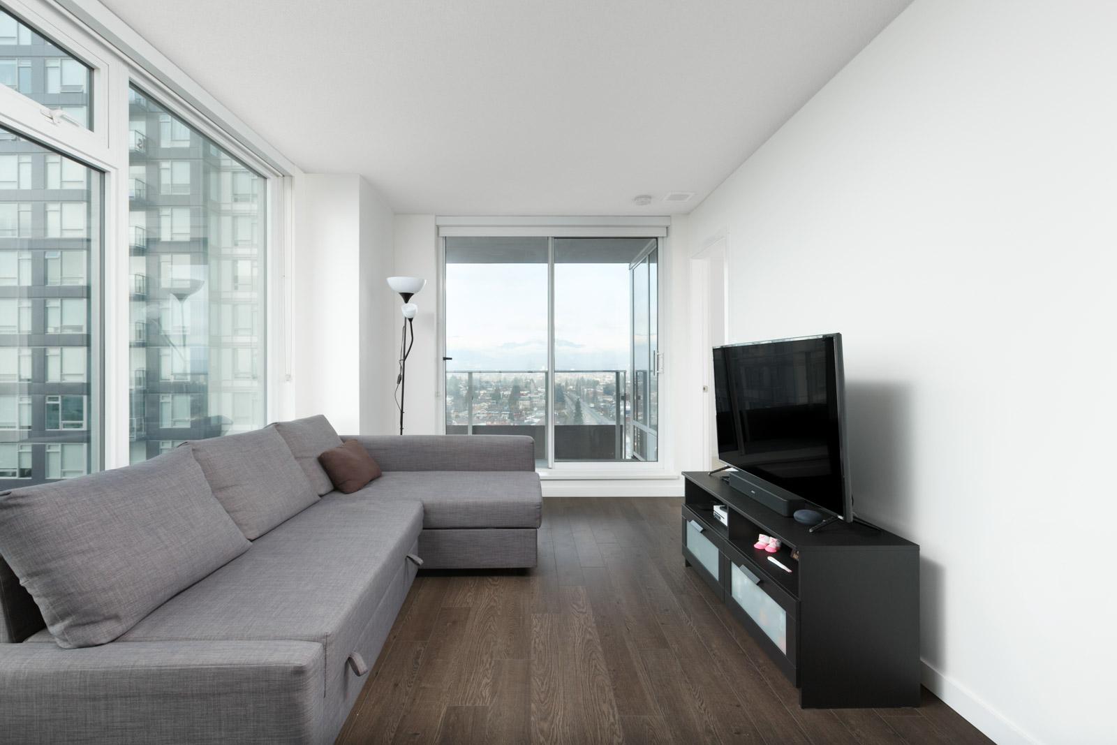 living room in rental condo in the East Van neighbourhood of Vancouver