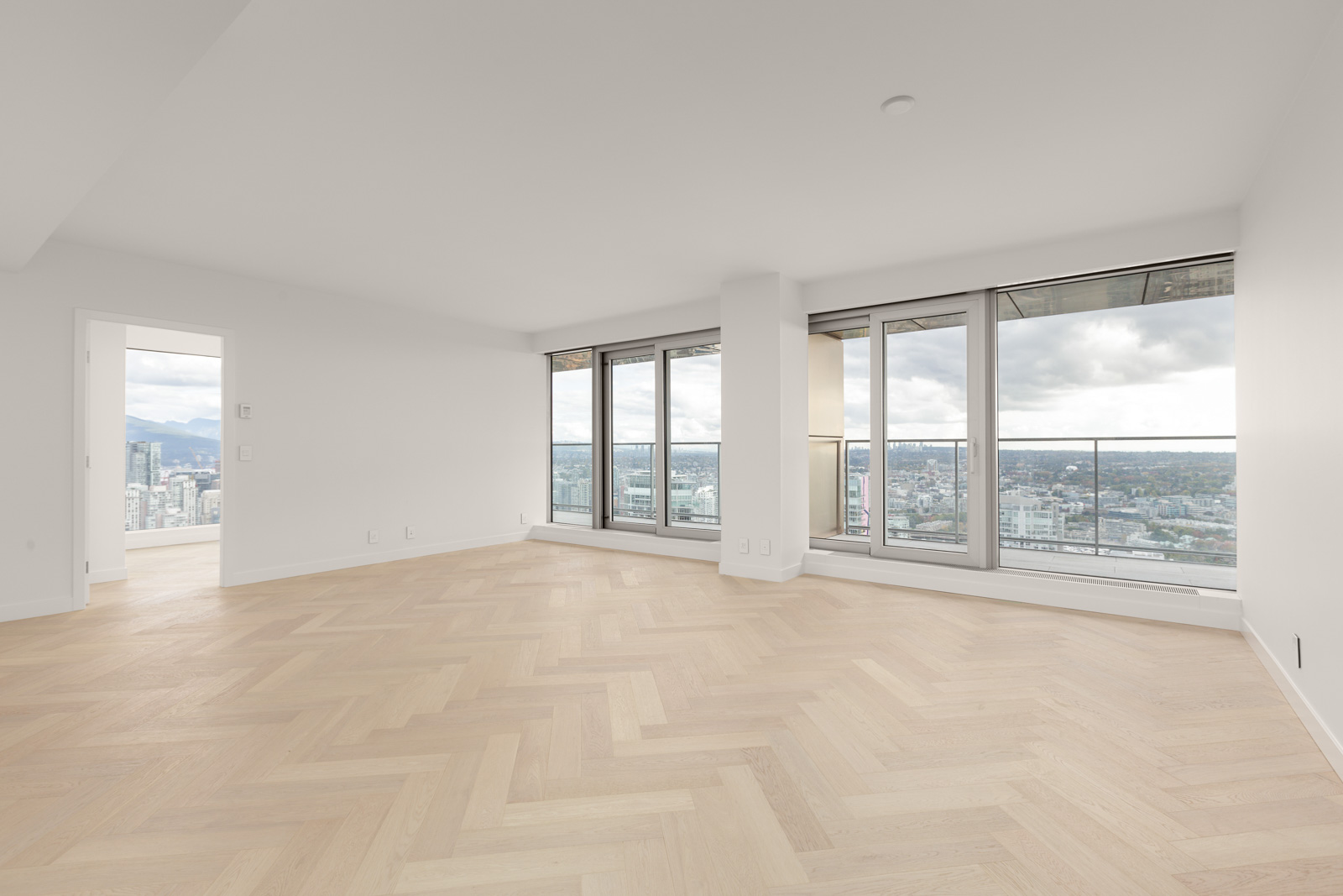 living room with view in upscale downtown Vancouver condo