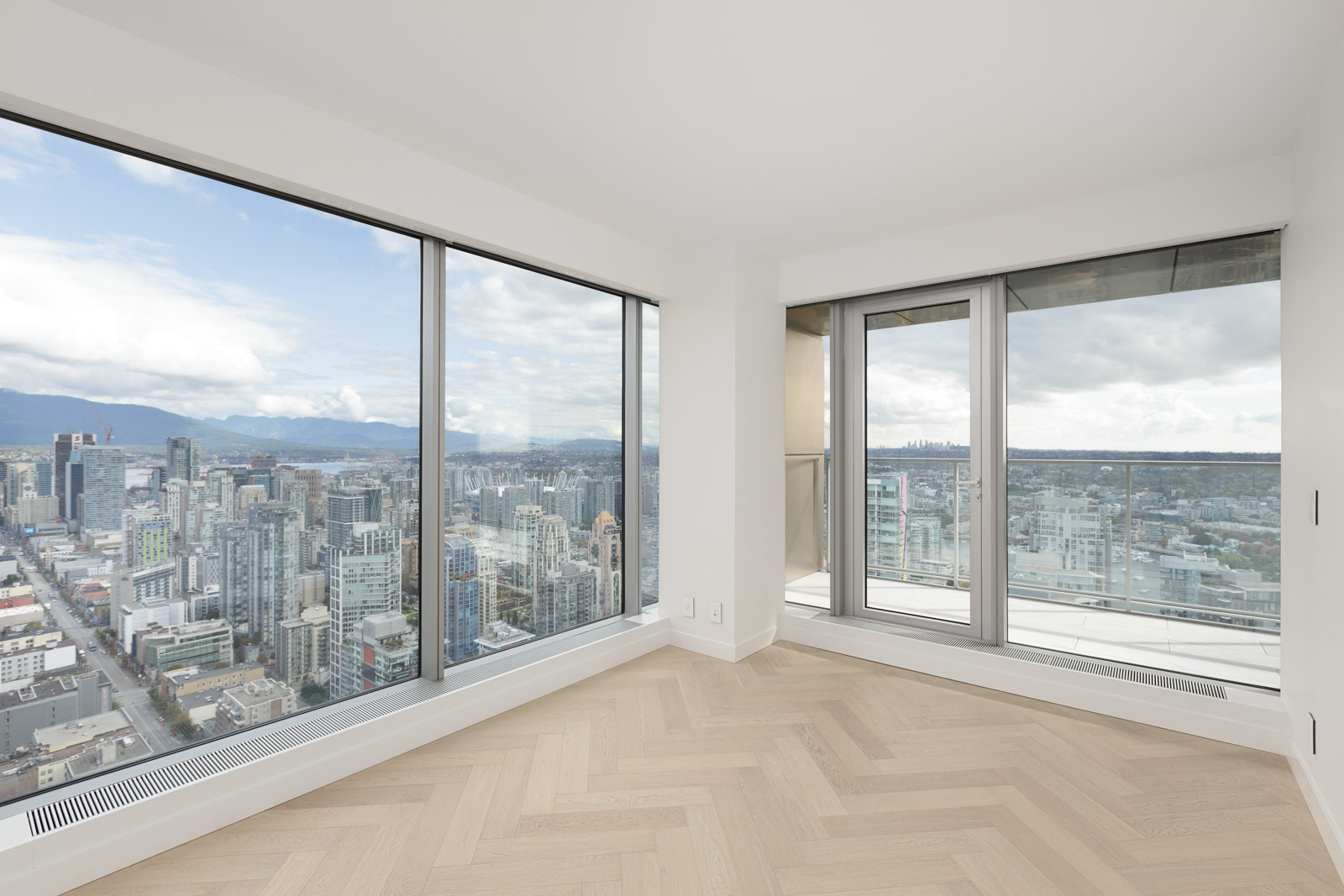 bedroom with view in upscale downtown Vancouver condo