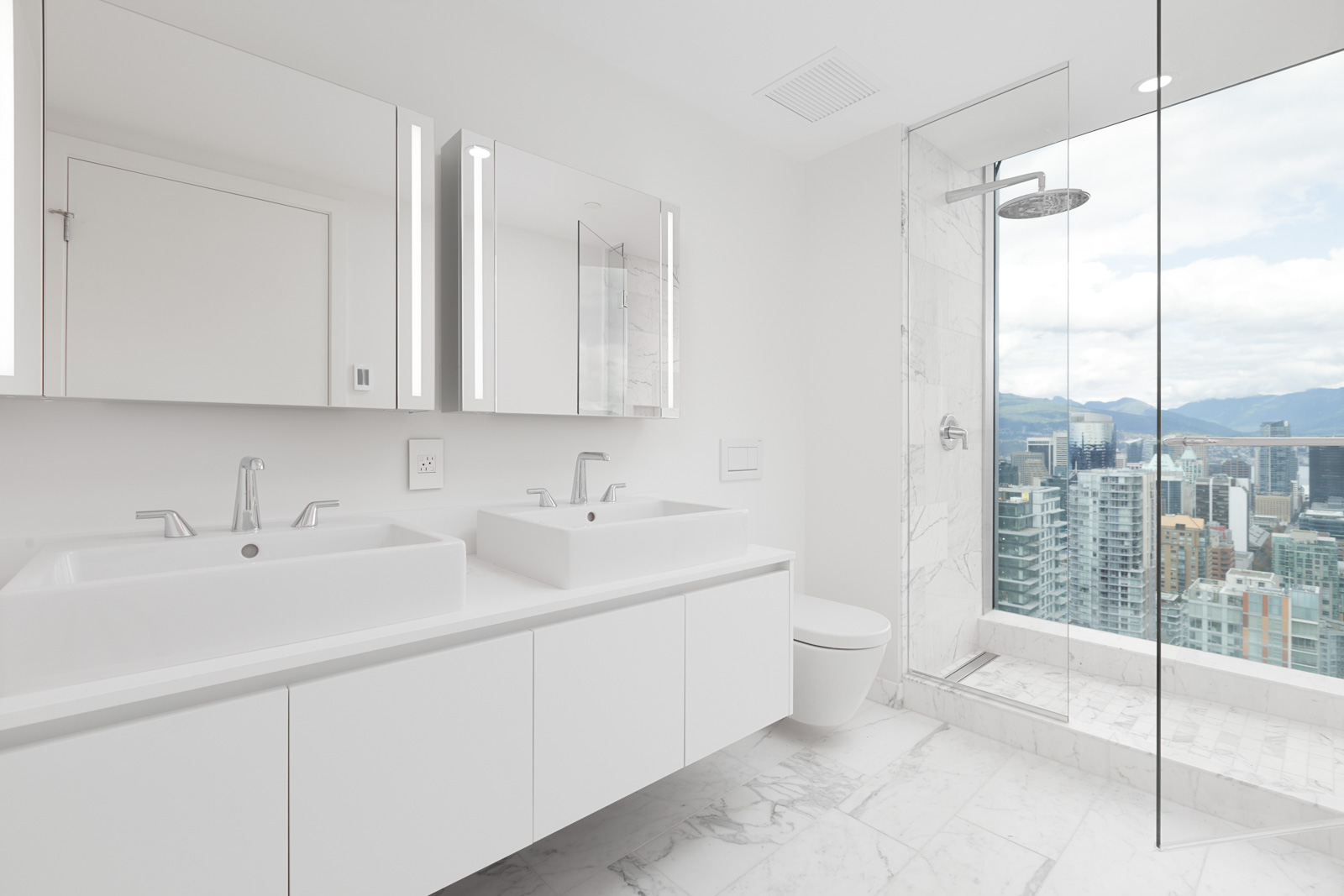bathroom with view from upscale Yaletown condo