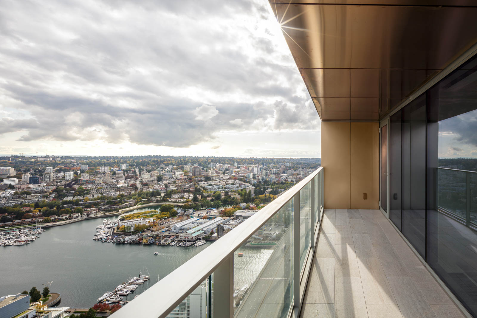 balcony with view from upscale Yaletown condo