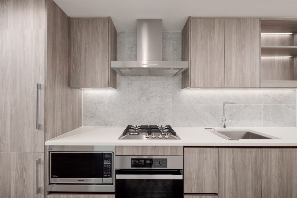 kitchen in newly built Olympic Village condo