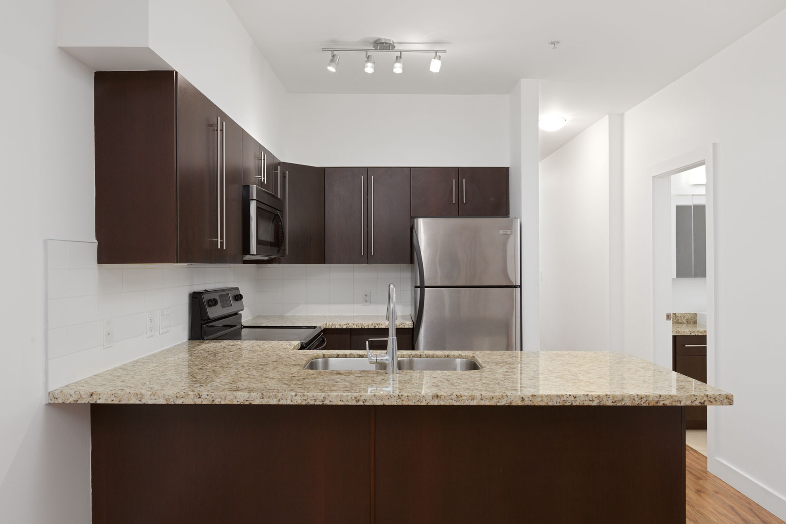 kitchen with new appliances in Burnaby condo