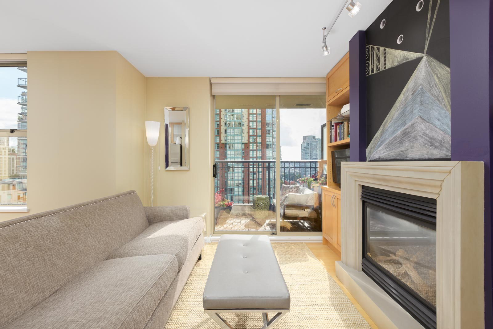 furnished dining room in an upscale Yaletown condo in Vancouver