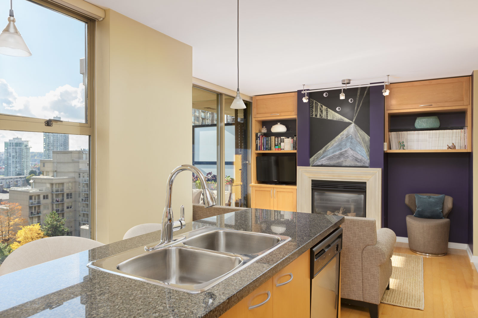 view of upscale Vancouver condo with yellow walls