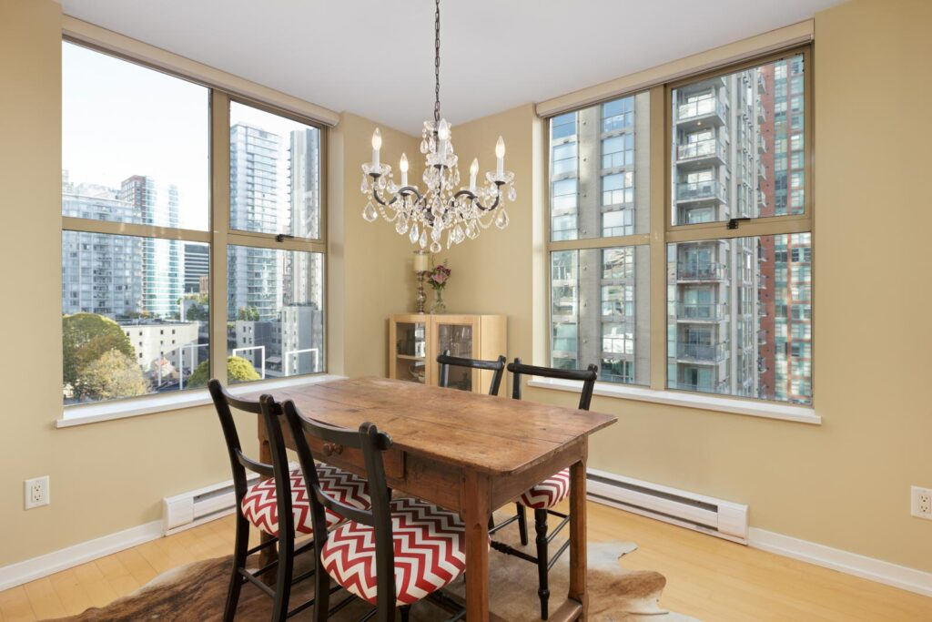 dining room in upscale condo in Yaletown, Vancouver